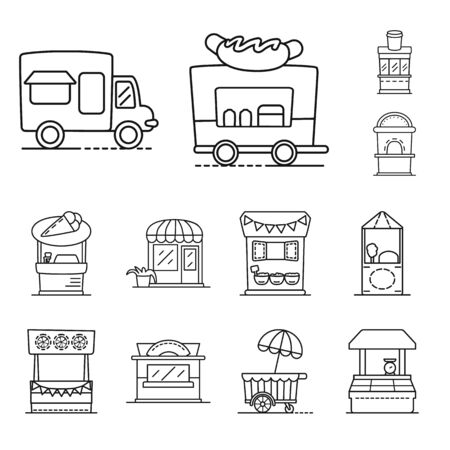 Isolated object of vending and public icon. Collection of vending and storefront stock symbol for web. Illustration