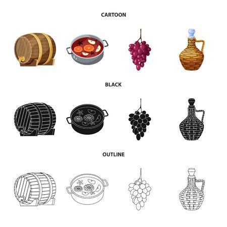Vector design of farm and vineyard icon. Collection of farm and product stock symbol for web. Ilustración de vector