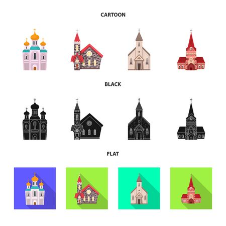 Vector illustration of cult and temple  . Set of cult and parish stock vector illustration.