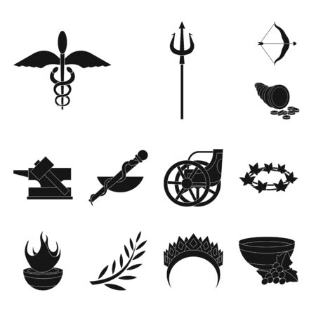 Isolated object of religion and myths icon. Set of religion and greek vector icon for stock. Illustration