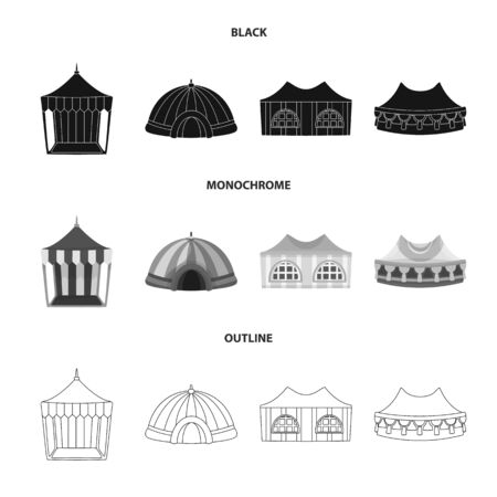 Vector illustration of roof and folding  . Set of roof and architecture stock symbol for web. Illustration