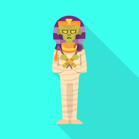 Vector design of sarcophagus and egyptian icon. Collection of sarcophagus and pharaoh stock vector illustration. 向量圖像
