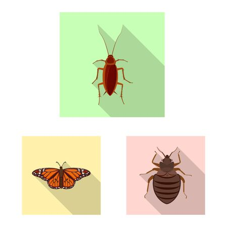 Vector illustration of insect and fly icon. Collection of insect and element vector icon for stock.