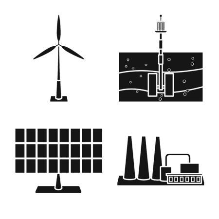 Vector design of technology and bio symbol. Set of technology and alternative vector icon for stock.