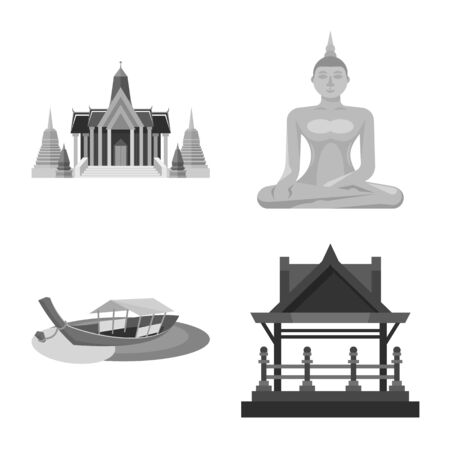 Isolated object of traditional and tourism sign. Collection of traditional and exotic stock vector illustration.