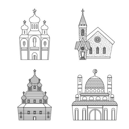 Vector design of architecture and faith sign. Set of architecture and temple stock symbol for web.