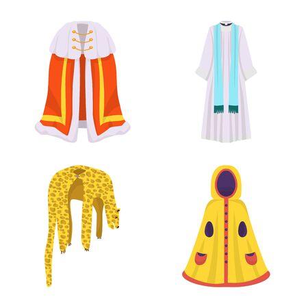 Vector design of cloak and clothes . Set of cloak and garment stock vector illustration. Иллюстрация
