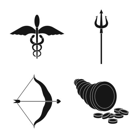 Vector design of religion and myths  . Set of religion and greek vector icon for stock.