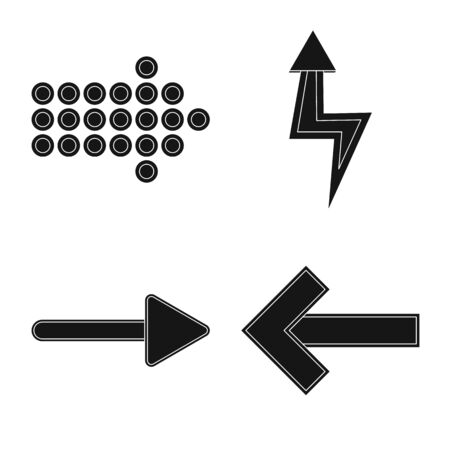 Isolated object of element and arrow sign. Set of element and direction stock symbol for web.