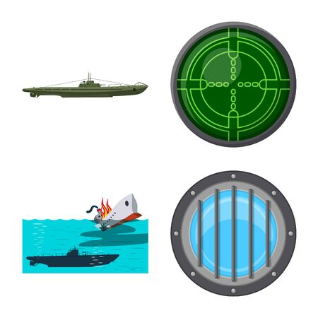 Vector illustration of boat and navy symbol. Collection of boat and deep stock vector illustration.