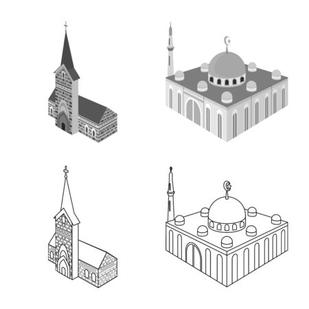 Vector illustration of temple and historic sign. Collection of temple and faith stock symbol for web.
