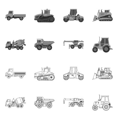 Isolated object of build and construction symbol. Set of build and machinery vector icon for stock. Stock Illustratie