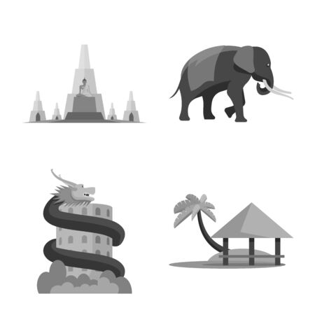 Vector illustration of traditional and tourism sign. Collection of traditional and exotic stock vector illustration.