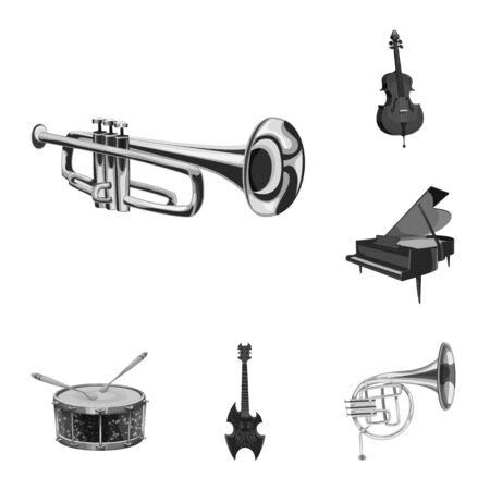 Isolated object of music and tune symbol. Collection of music and tool vector icon for stock.  イラスト・ベクター素材
