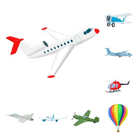 Vector design of plane and transport symbol. Set of plane and sky vector icon for stock.