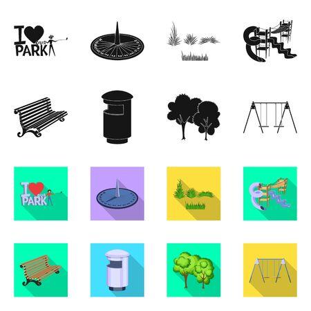 Disegno vettoriale di simbolo urbano e stradale. Insieme di simbolo di borsa urbano e relax per il web.