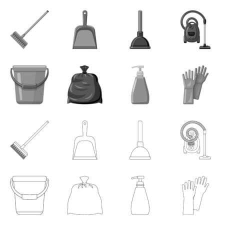 Isolated object of cleaning and service sign. Collection of cleaning and household stock symbol for web.