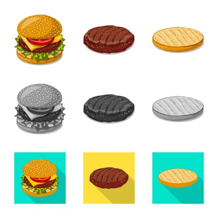 Vector illustration of burger and sandwich sign. Collection of burger and slice stock symbol for web.