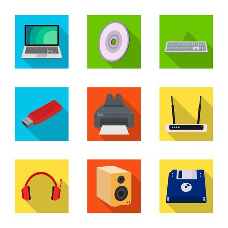 Vector illustration of laptop and device . Collection of laptop and server vector icon for stock. Ilustrace
