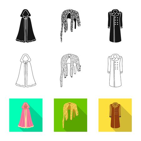 Vector design of material and clothing sign. Set of material and garment vector icon for stock.