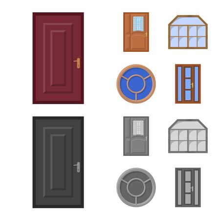 Vector illustration of door and front sign. Collection of door and wooden stock vector illustration.  イラスト・ベクター素材