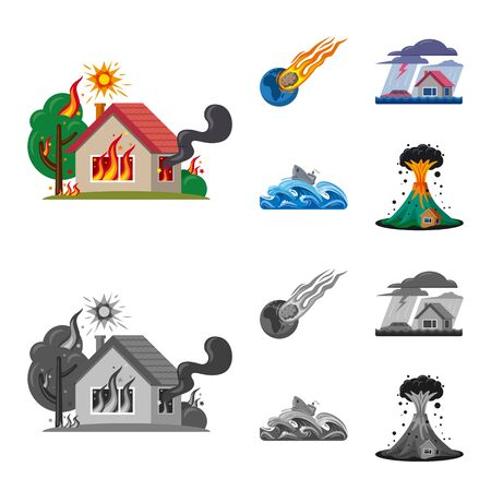 Isolated object of natural and disaster sign. Set of natural and risk vector icon for stock.