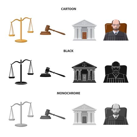 Vector design of law and lawyer sign. Set of law and justice stock vector illustration. Standard-Bild - 128504778