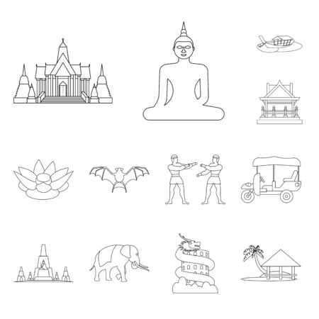 Vector design of landmark and culture icon. Set of landmark and tourism vector icon for stock. Illusztráció