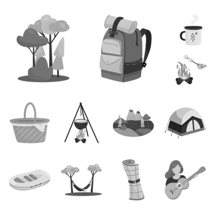 Isolated object of recreation and tourism symbol. Collection of recreation and wildlife stock vector illustration.