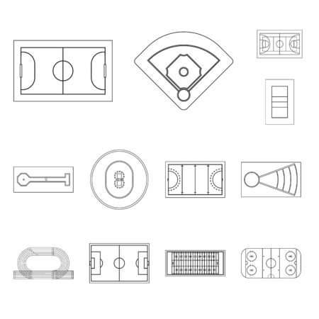 Vector design of plan and sport sign. Set of plan and game vector icon for stock. Banque d'images - 128849993
