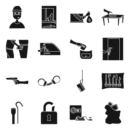 Isolated object of robber and villain icon. Collection of robber and police stock symbol for web.