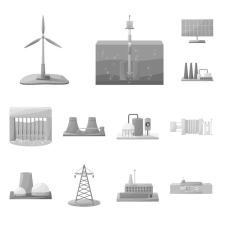 Vector design of industrial and ecological sign. Collection of industrial and environment vector icon for stock.