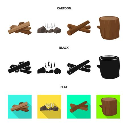 Vector illustration of material and logging symbol. Set of material and forestry stock symbol for web. 向量圖像