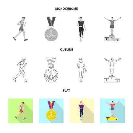 Isolated object of sport and winner symbol. Collection of sport and fitness stock symbol for web.