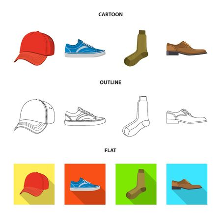 Vector design of man and clothing . Collection of man and wear vector icon for stock. 向量圖像