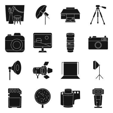 Vector design of business and hobbies sign. Set of business and photo vector icon for stock.