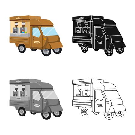 Isolated object of trailer and service . Set of trailer and retro stock vector illustration. Ilustração