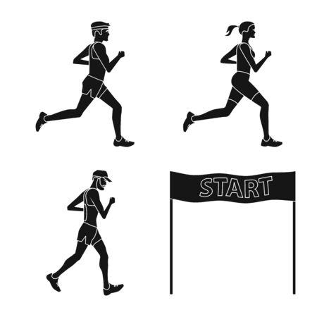 Vektor-Illustration der Gesundheits- und Fitness-Ikone. Sammlung von Gesundheits- und Sprintvorrat-Vektorillustration. Vektorgrafik
