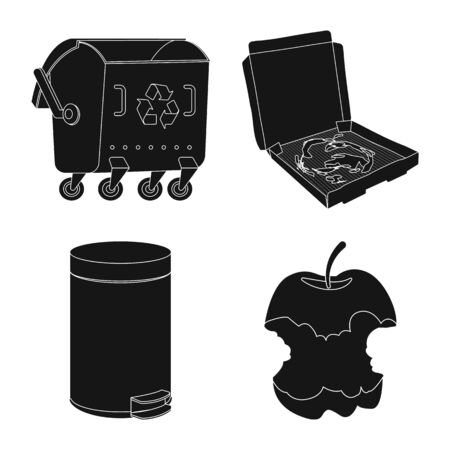 Isolated object of refuse and junk sign. Set of refuse and waste vector icon for stock.
