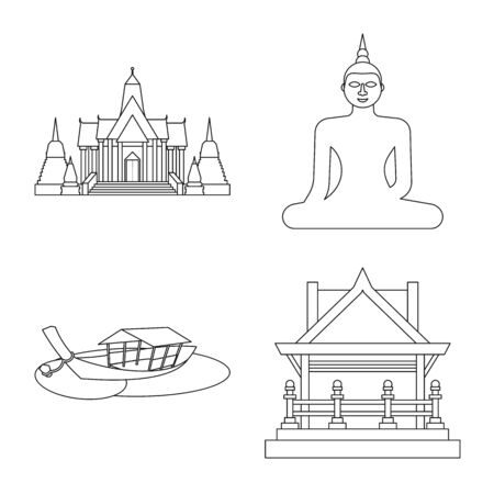 Vector illustration of landmark and culture sign. Set of landmark and tourism vector icon for stock. Illustration