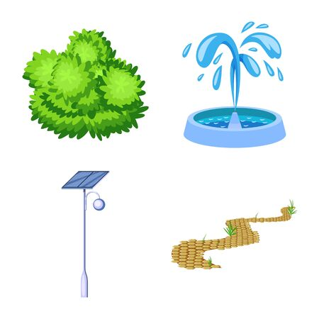 Vector illustration of landscape and park icon. Collection of landscape and nature stock symbol for web. Illustration