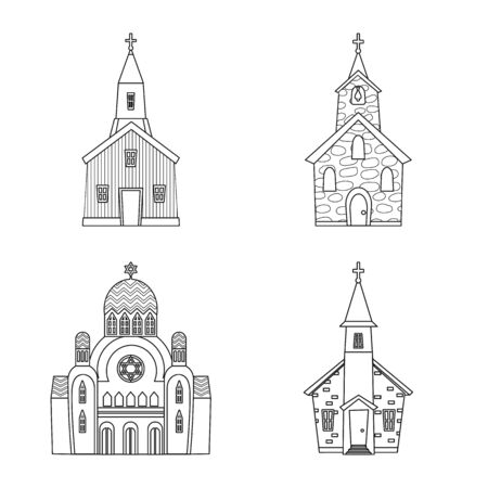 Isolated object of architecture and faith icon. Collection of architecture and temple vector icon for stock. Ilustração