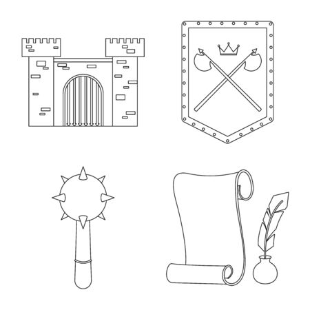 Isolated object of heritage and ancient logo. Collection of heritage and tournament vector icon for stock. Illustration