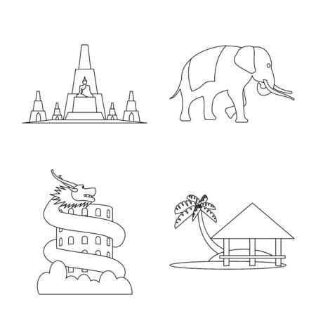 Vector design of landmark and culture logo. Collection of landmark and tourism stock vector illustration. Ilustrace