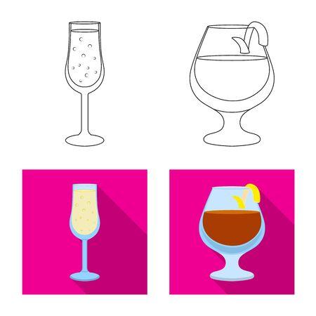 Vector illustration of liquor and restaurant sign. Set of liquor and ingredient stock vector illustration.