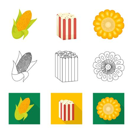 Isolated object of cornfield and vegetable symbol. Set of cornfield and vegetarian vector icon for stock.
