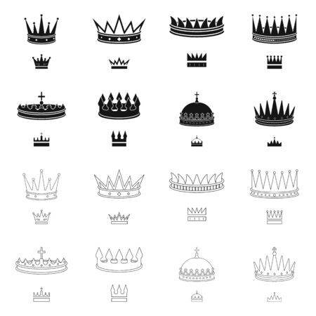 Vector design of medieval and nobility icon. Collection of medieval and monarchy vector icon for stock.