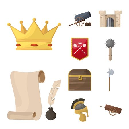 Vector illustration of medieval and history symbol. Set of medieval and tournament vector icon for stock. Illustration