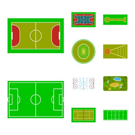 Isolated object of field and plan symbol. Collection of field and grass stock symbol for web. Standard-Bild - 128286087