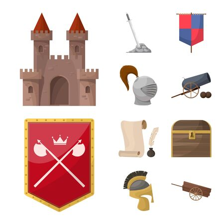 Vector design of medieval and history icon. Set of medieval and tournament vector icon for stock.